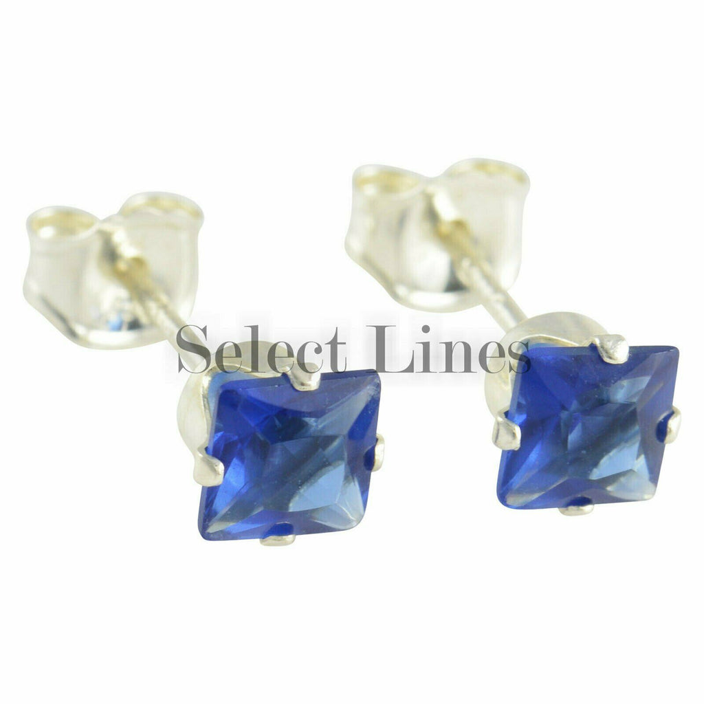 Sterling Silver Square Princess Cut Sapphire CZ Stud Earrings - September .925