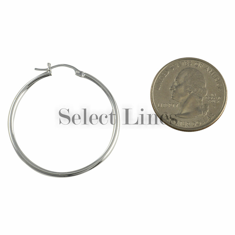 Sterling Silver 2mm x 35mm Polished Hinged Hoop Earrings Round Hollow Tube .925