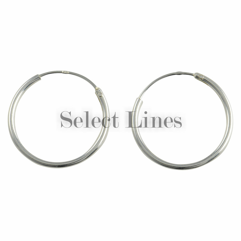 Sterling Silver 1.2mm x 18mm Endless Hoop Earrings Round Genuine Solid .925 Jewelry