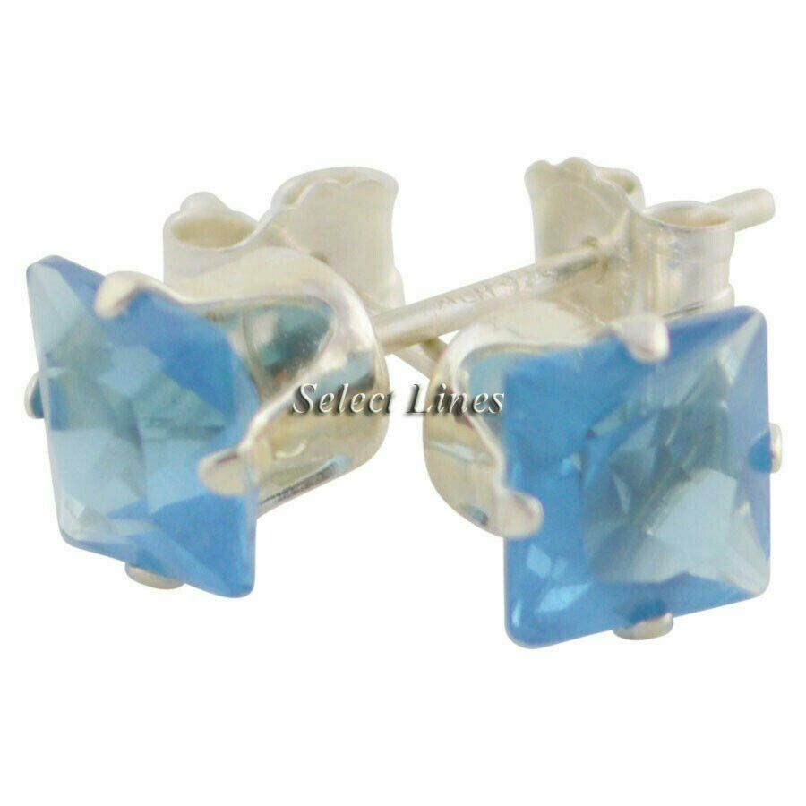 Sterling Silver Square Princess Cut Blue Topaz CZ Stud Earrings - December .925