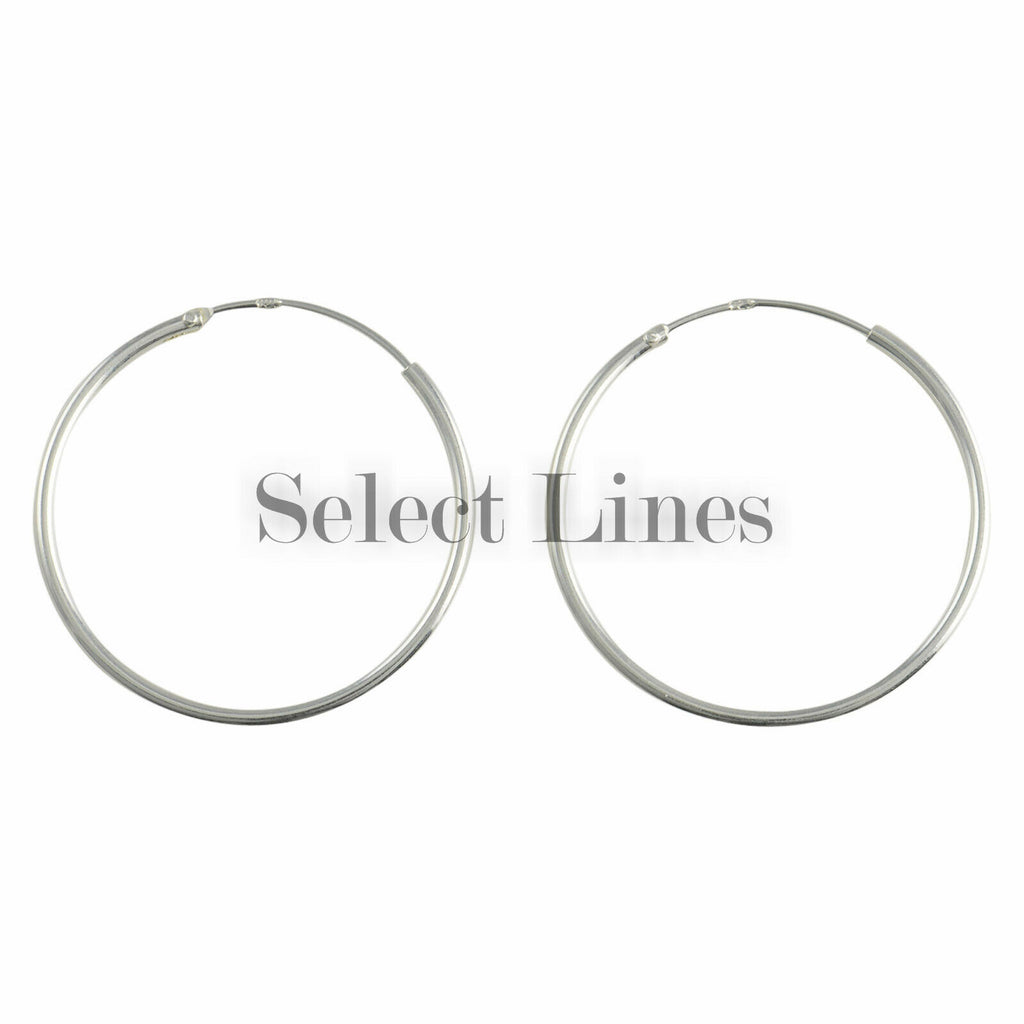 Sterling Silver 1.2mm x 25mm Endless Hoop Earrings Round Genuine Solid .925 Jewelry