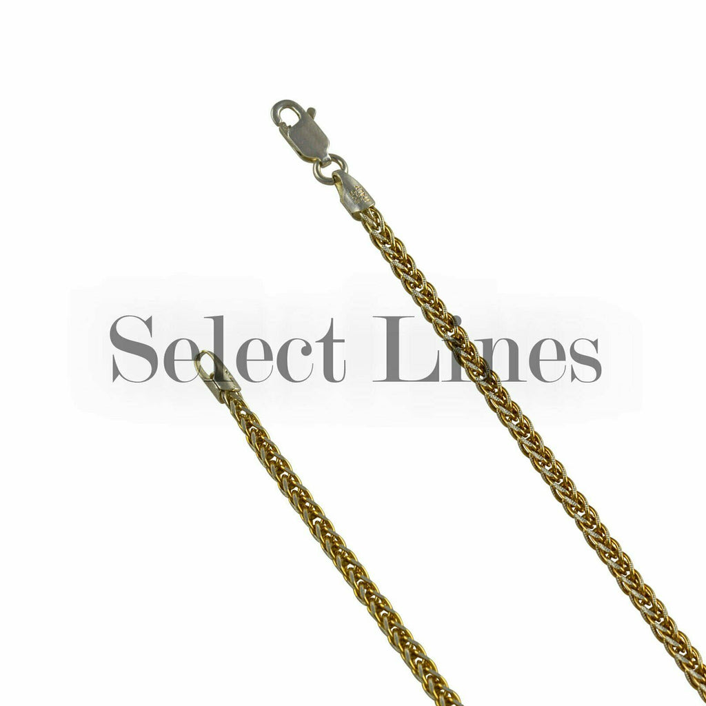 14K Gold over Sterling Silver Foxtail Franco Pave 4mm Two Tone Chain Necklace