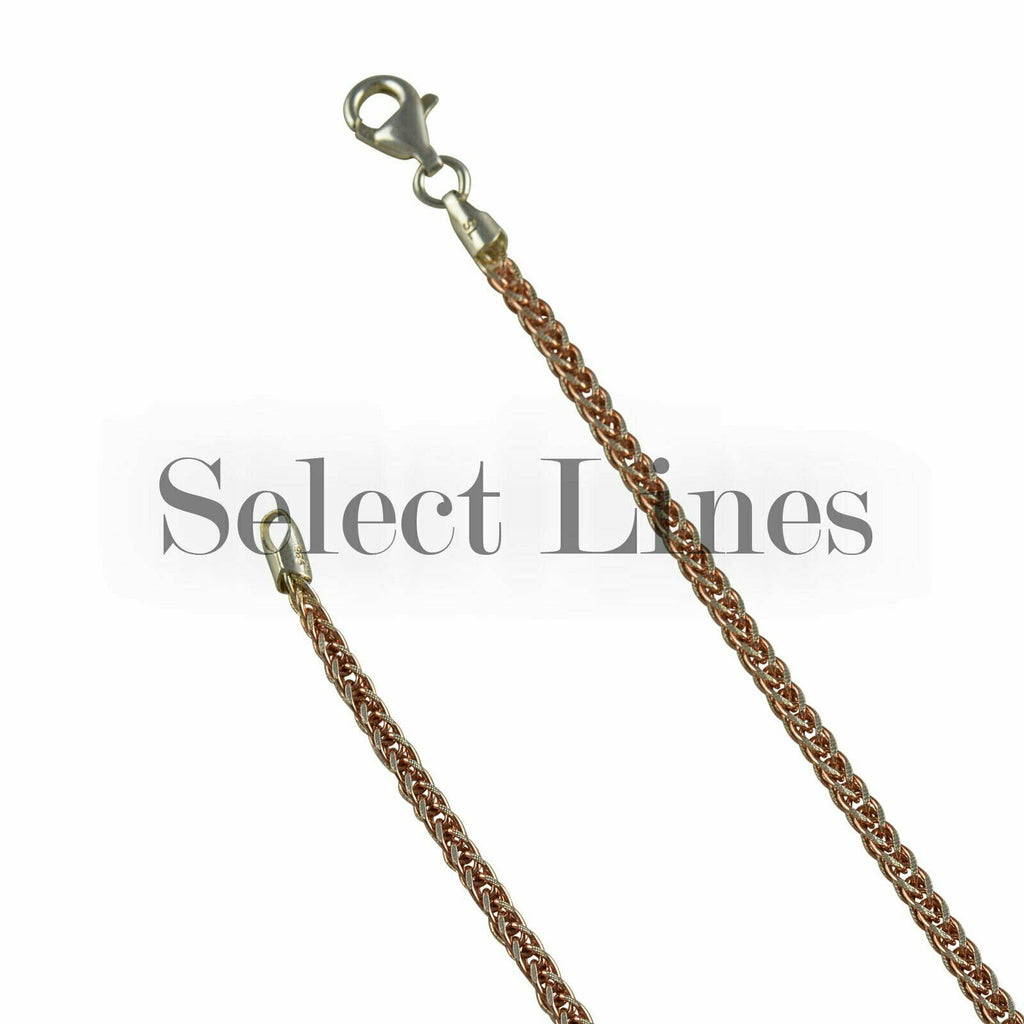 14K Rose Gold Sterling Silver Foxtail Franco Pave 4mm Two Tone Chain Necklace