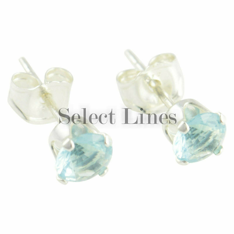 Sterling Silver Round Aquamarine CZ Stud Earrings - March .925 Jewelry