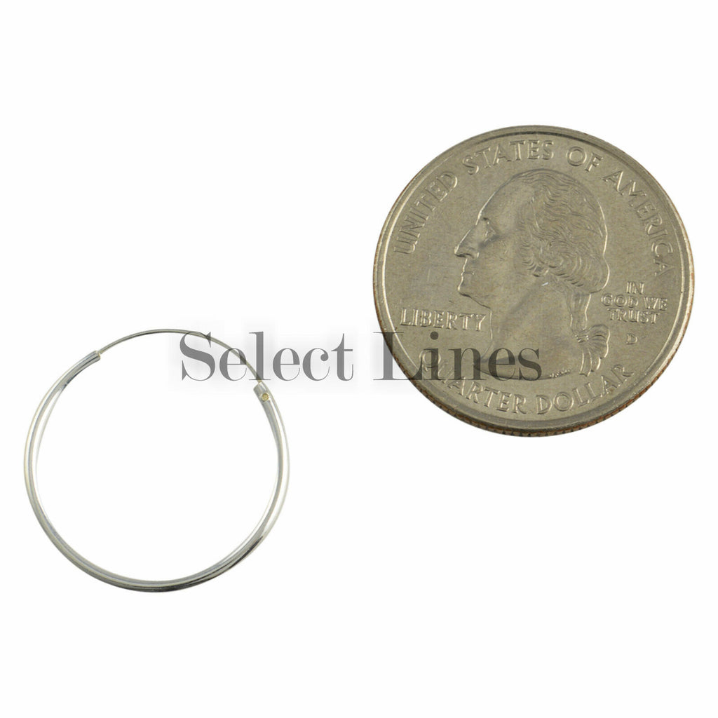 Sterling Silver 1.2mm x 20mm Endless Hoop Earrings Round Genuine Solid .925 Jewelry