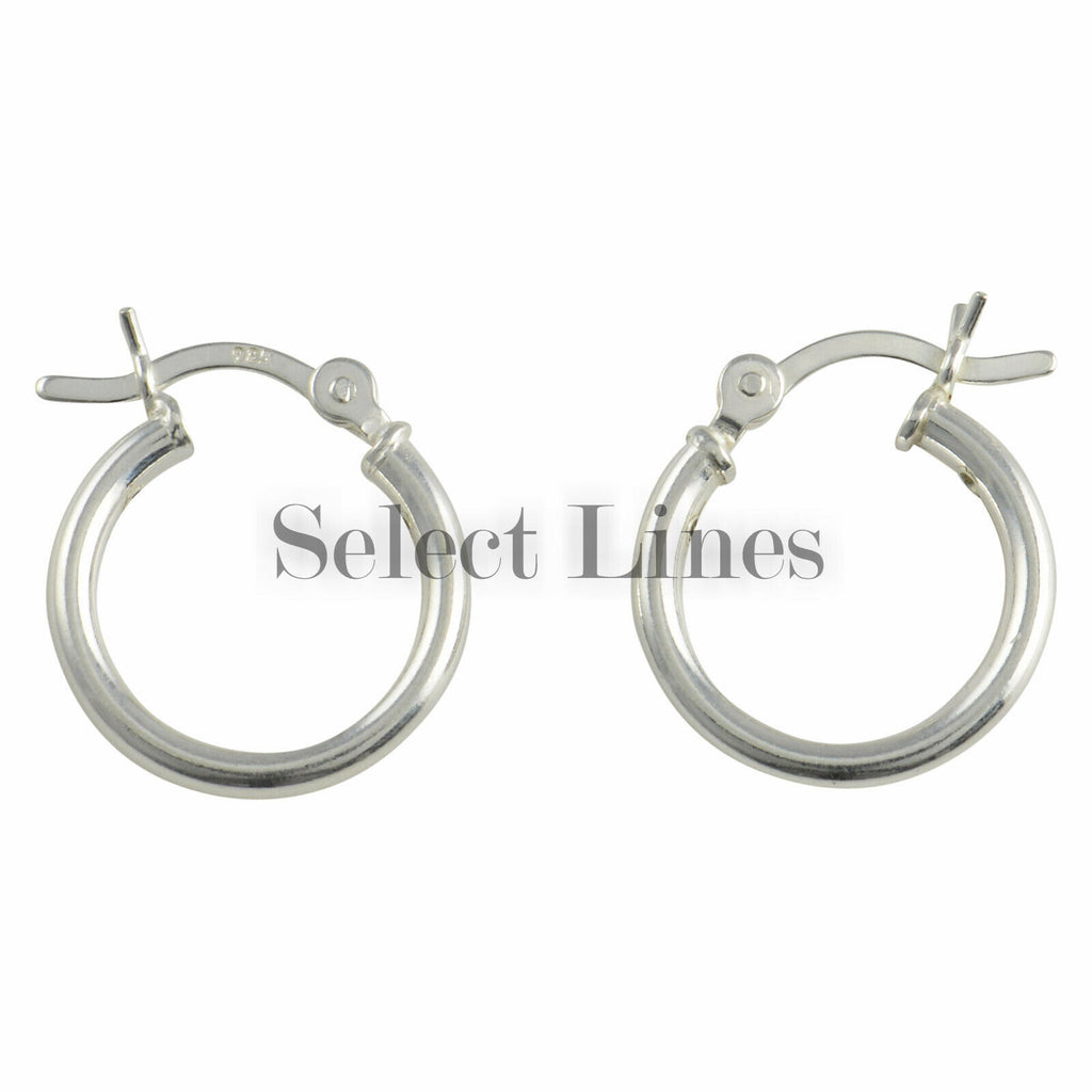 Sterling Silver 2mm x 14mm Polished Hinged Hoop Earrings Round Hollow Tube .925