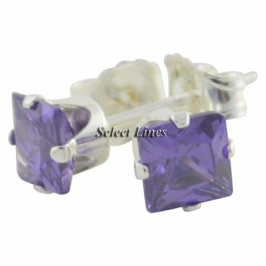 Sterling Silver Square Princess Cut Amethyst CZ Stud Earrings - February Jewelry
