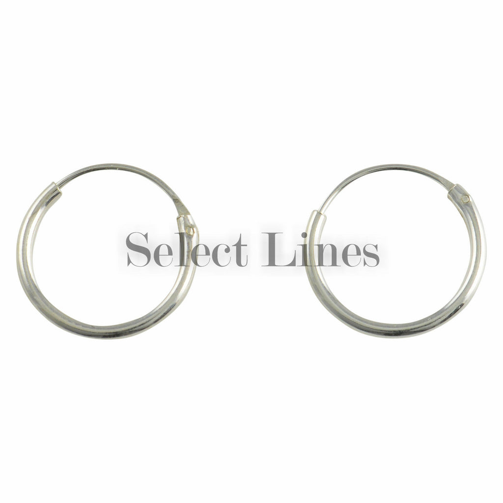 Sterling Silver 1.2mm x 12mm Endless Hoop Earrings Round .925 Jewelry