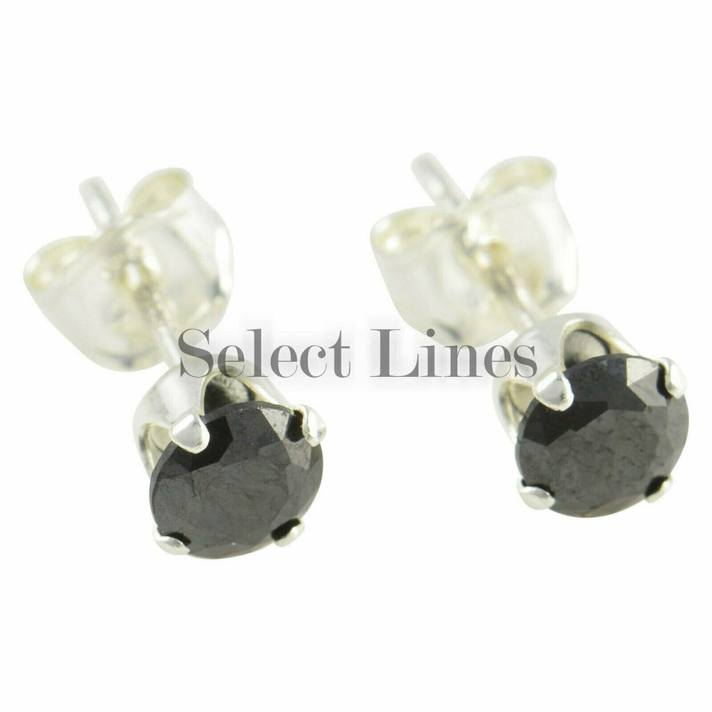 Sterling Silver Round Black CZ Stud Earrings Genuine .925 Jewelry