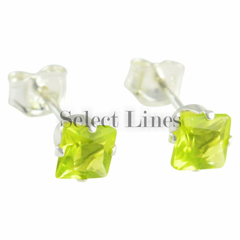 Sterling Silver Square Princess Cut Peridot CZ Stud Earrings August .925 Jewelry