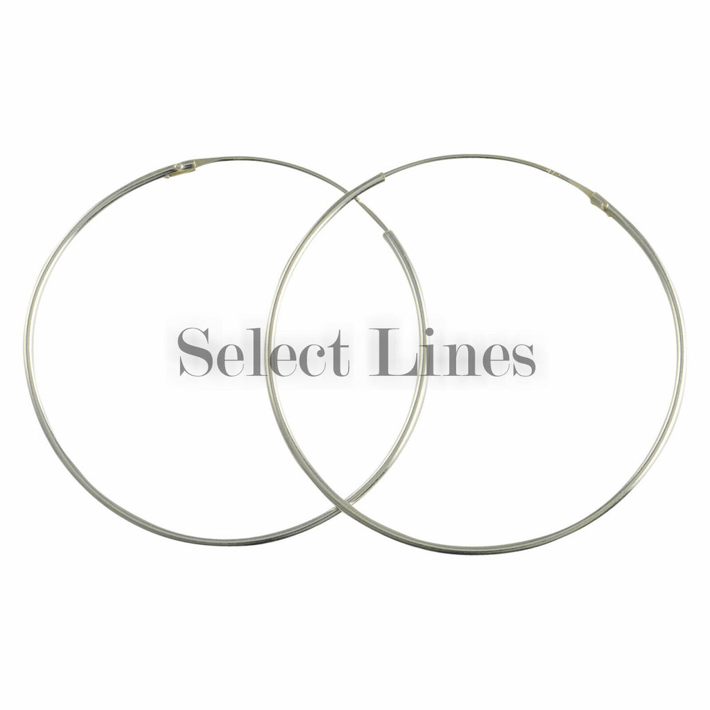 Sterling Silver 1.2mm x 45mm Endless Hoop Earrings Round Genuine Solid .925 Jewelry