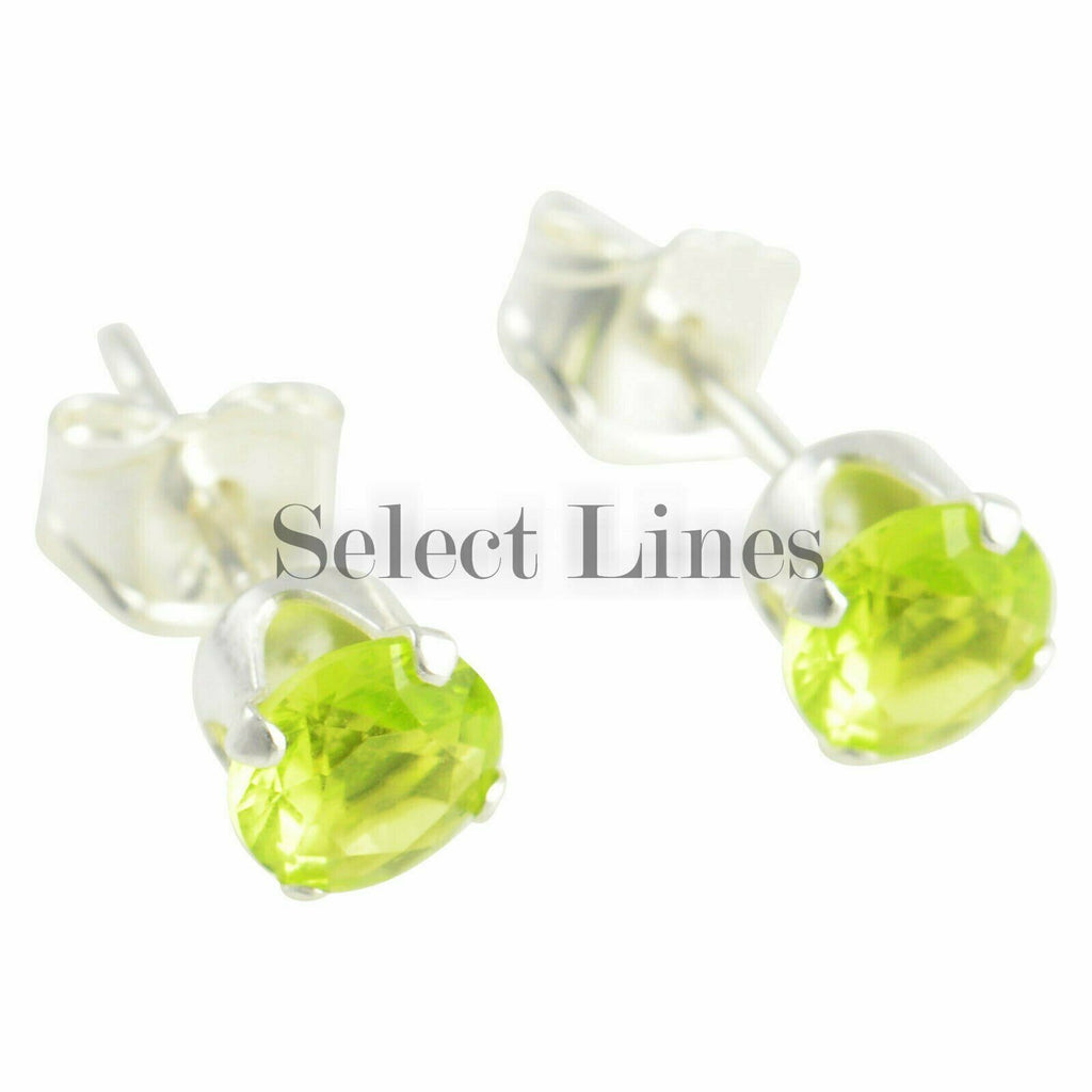 Sterling Silver Round Peridot CZ Stud Earrings - August .925 Jewelry
