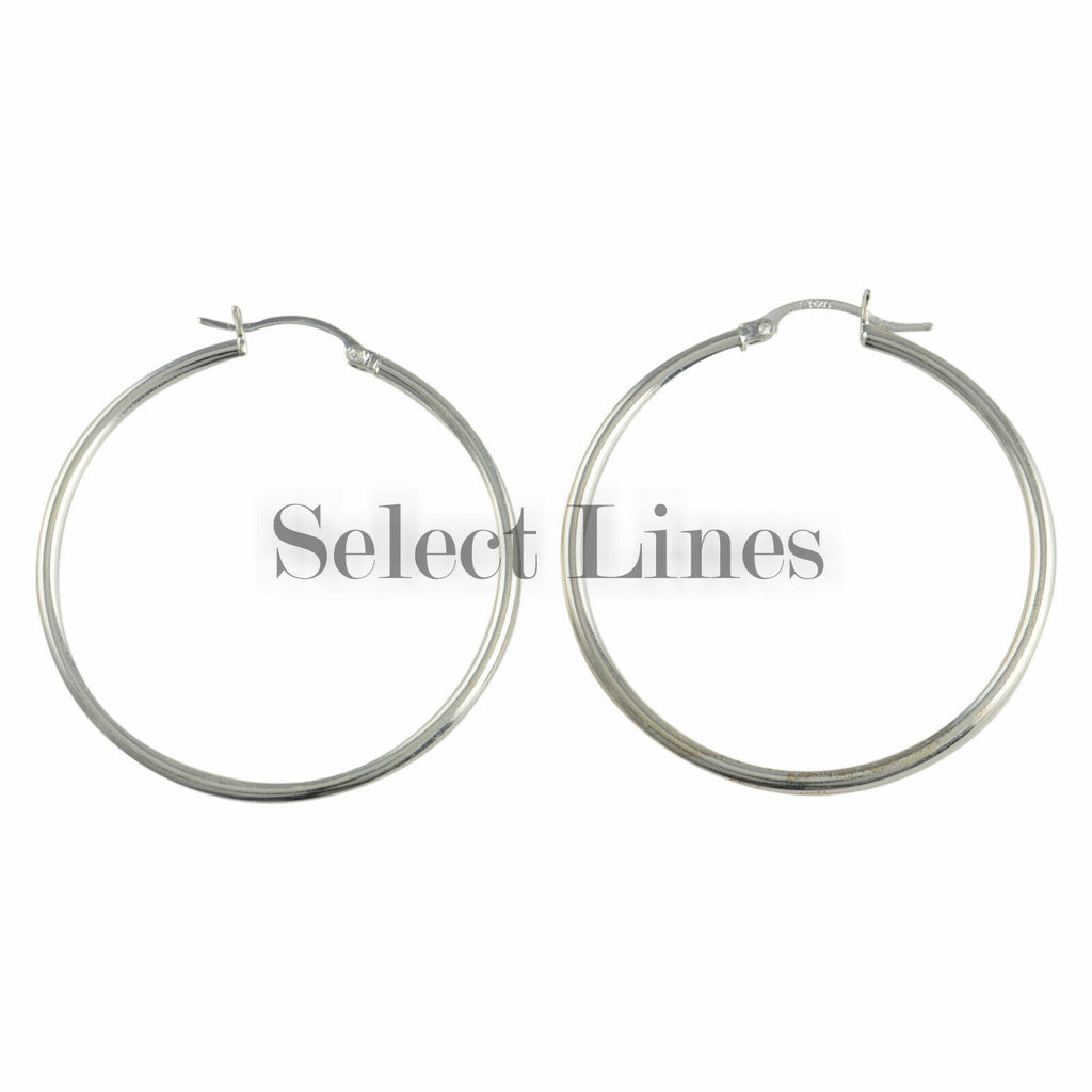 Sterling Silver 2mm x 40mm Polished Hinged Hoop Earrings Round Hollow Tube .925