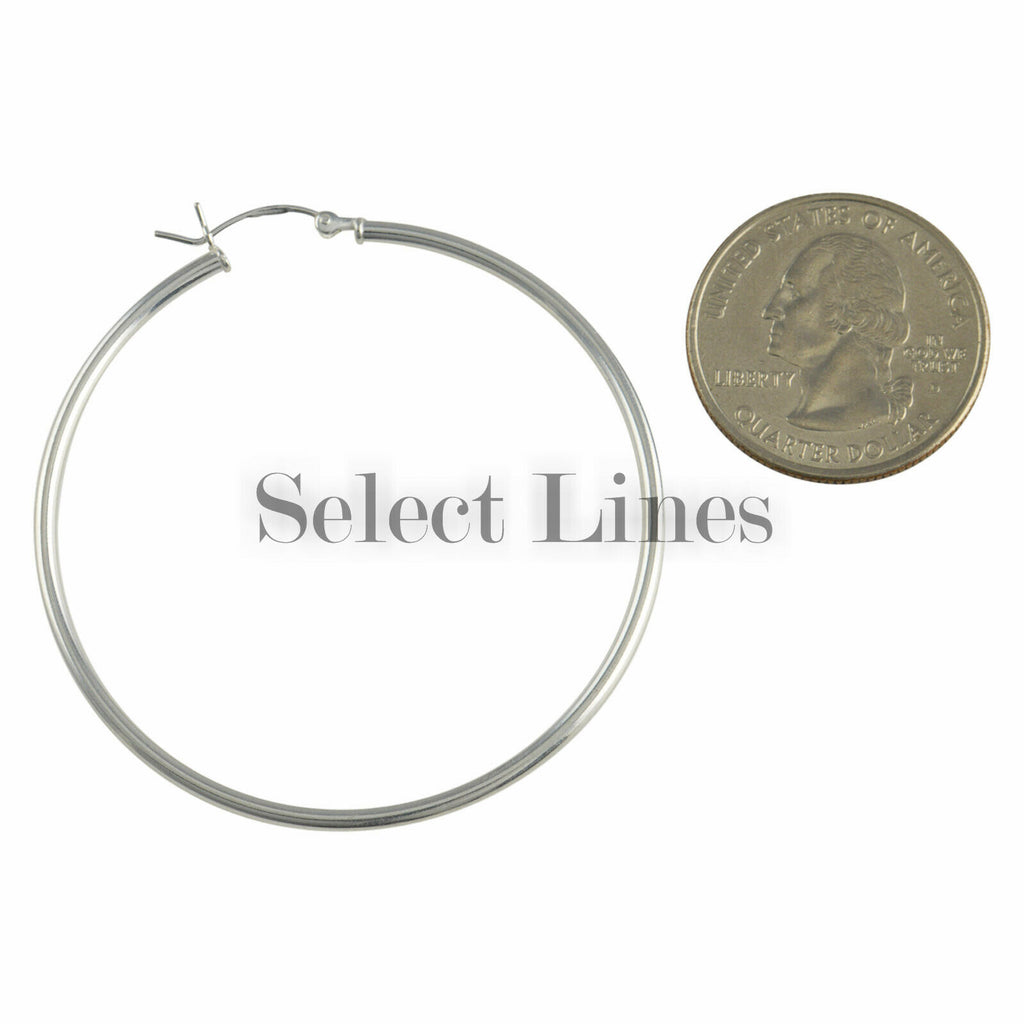 Sterling Silver 2mm x 50mm Polished Hinged Hoop Earrings Round Hollow Tube .925