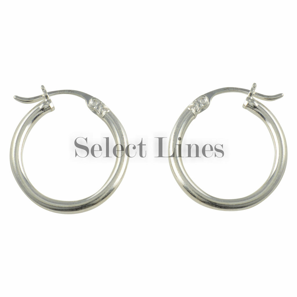 Sterling Silver 2mm x 18mm Polished Hinged Hoop Earrings Round Hollow Tube .925