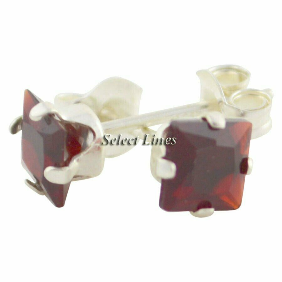 Sterling Silver Square Princess Cut Garnet CZ Stud Earrings - January .925