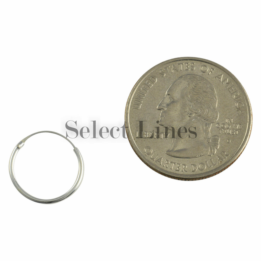 Sterling Silver 1.2mm x 14mm Endless Hoop Earrings Round Genuine Solid .925 Jewelry