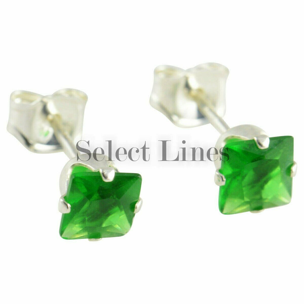 Sterling Silver Square Princess Cut Emerald CZ Stud Earrings - May Green Jewelry