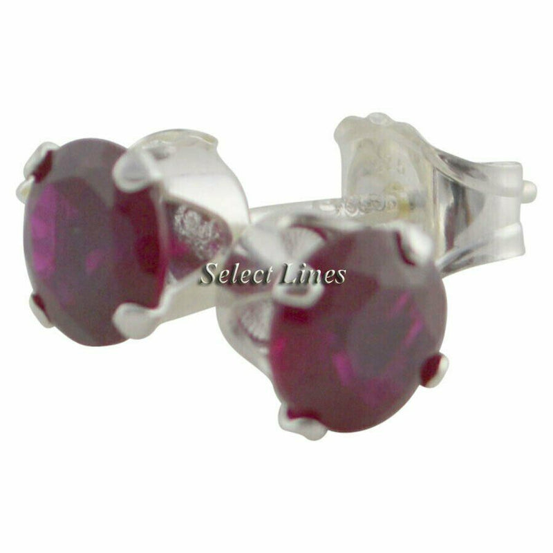 Sterling Silver Round Garnet CZ Stud Earrings - January .925 Jewelry