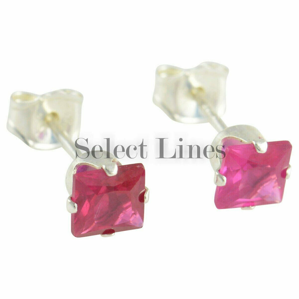 Sterling Silver Square Princess Cut Ruby CZ Stud Earrings - July .925 Jewelry