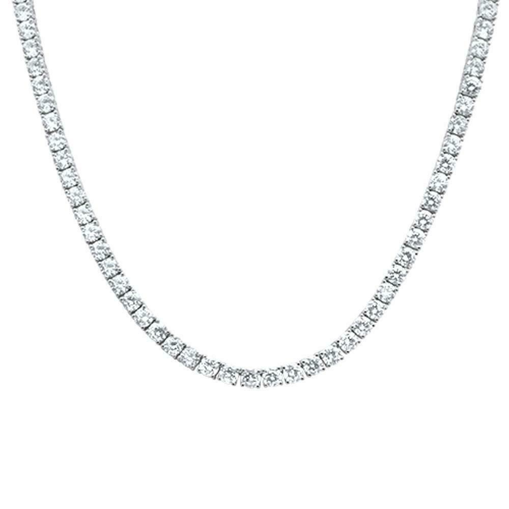 Sterling Silver Cubic Zirconia 6mm Rhodium Chain Hip Hop Necklace .925