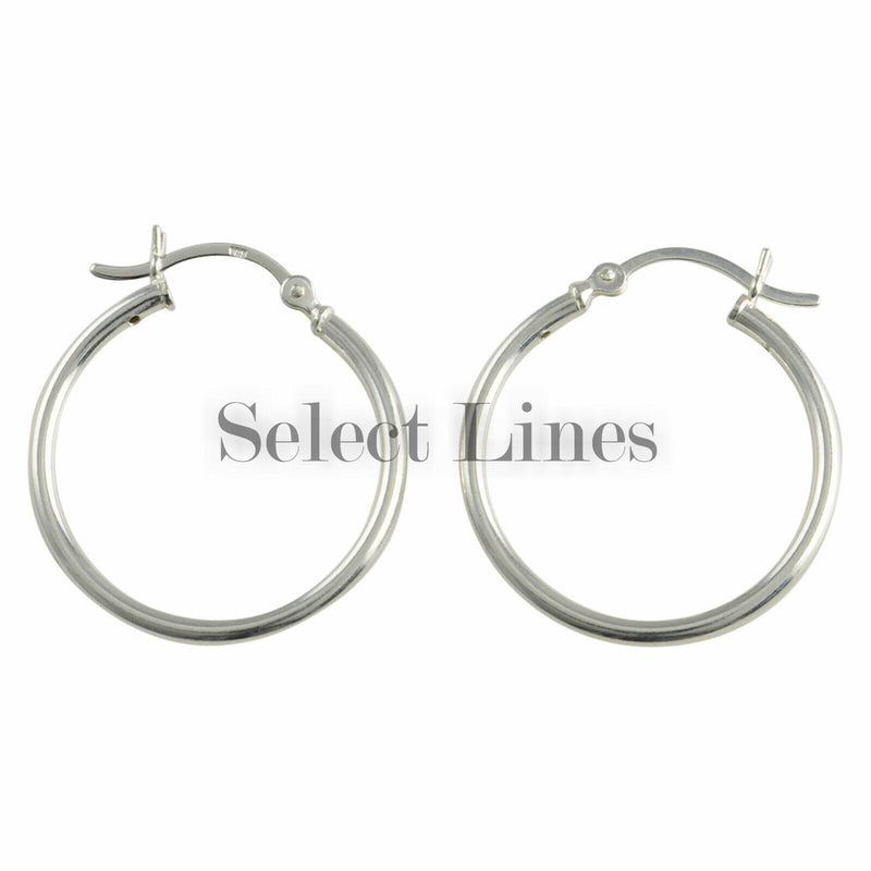 Sterling Silver 2mm x 25mm Polished Hinged Hoop Earrings Round Hollow Tube .925