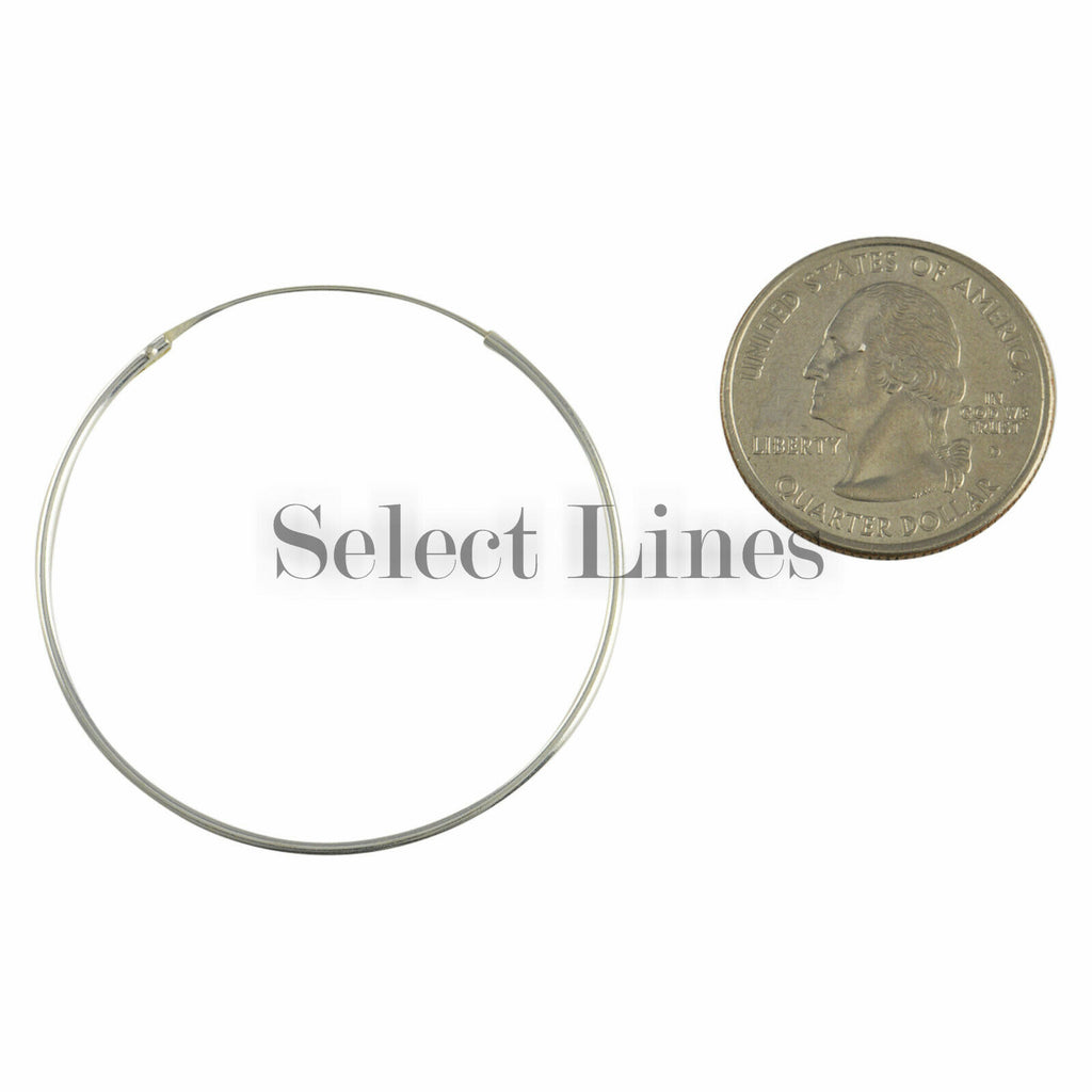 Sterling Silver 1.2mm x 40mm Endless Hoop Earrings Round Genuine Solid .925 Jewelry