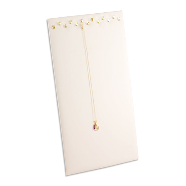 "White Faux Leather Easel Necklace Display 14-1/8"" H"