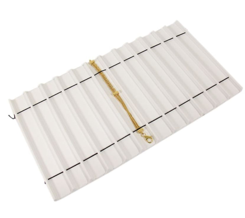 "White Velvet Wooden 12-Section Tray Liner Tray Insert 1/2"" H"