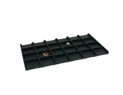 "Black Faux Leather Wooden 24-Grid Tray Liner Tray Insert 1/2"" H"
