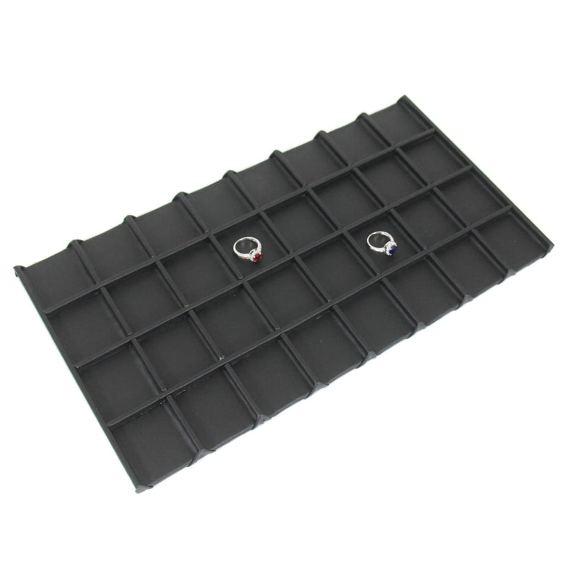 "Black Faux Leather Wooden 32-Grid Tray Liner Tray Insert 1/2"" H"
