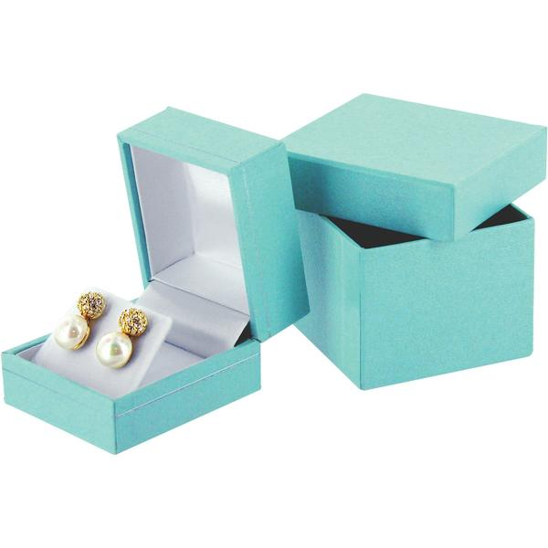 "Teal Blue Faux Leather Earring Display Gift Box 1-1/2"" H"