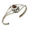 Esther White Sterling Silver Native American Navajo Coral Bear Paw Baby Bracelet