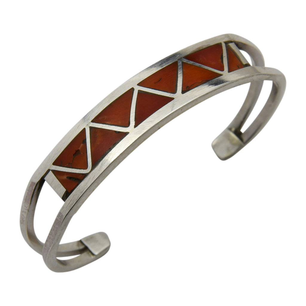 Claudine Haloo Sterling Silver Native American Zuni Coral Inlay Baby Bracelet