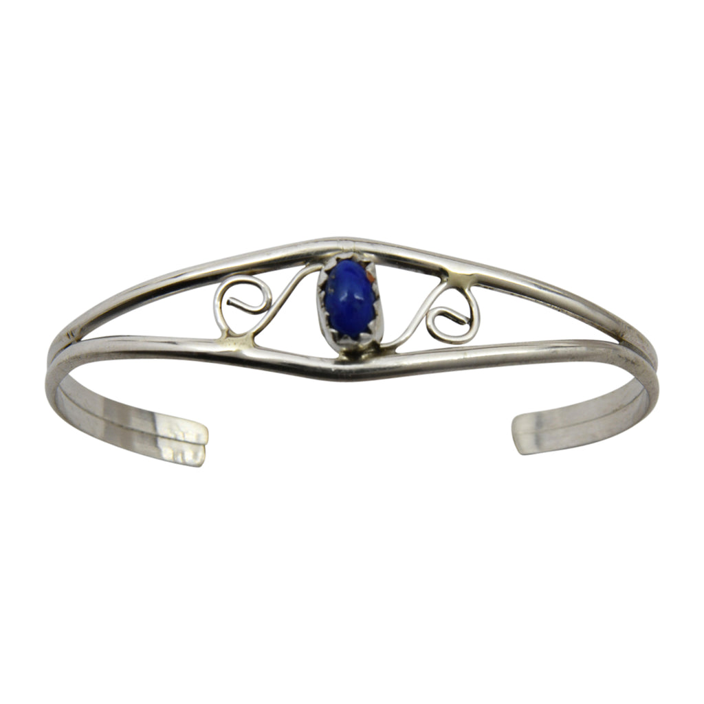 Judy Lincoln Sterling Silver Native American Navajo Lapis Baby Bracelet