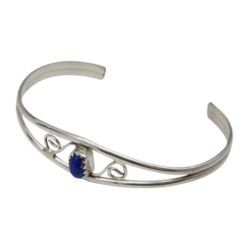 Judy Lincoln Sterling Silver Navajo Lapis Baby Bracelet