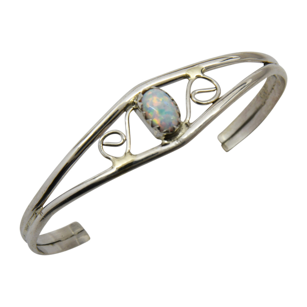 Judy Lincoln Sterling Silver Native American Navajo White Lab Opal Baby Bracelet