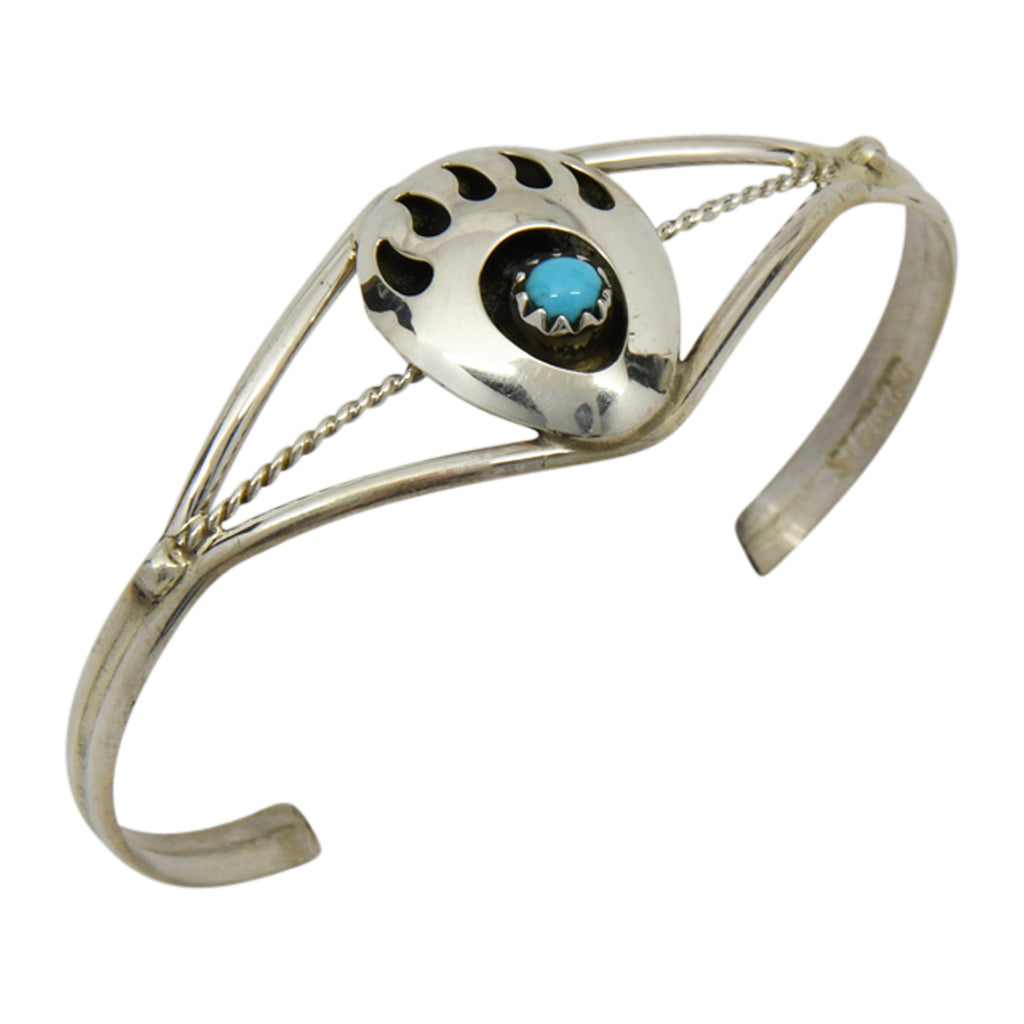 Esther White Sterling Silver Native American Navajo Turquoise Bear Paw Baby Bracelet