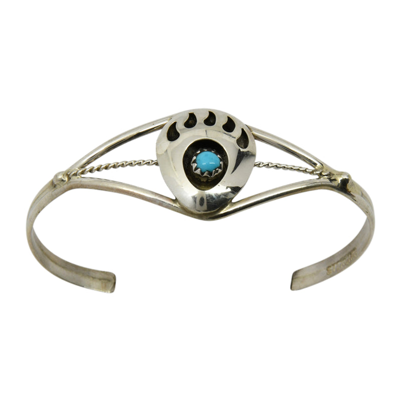 Esther White Sterling Silver Navajo Turquoise Bear Paw Baby Bracelet