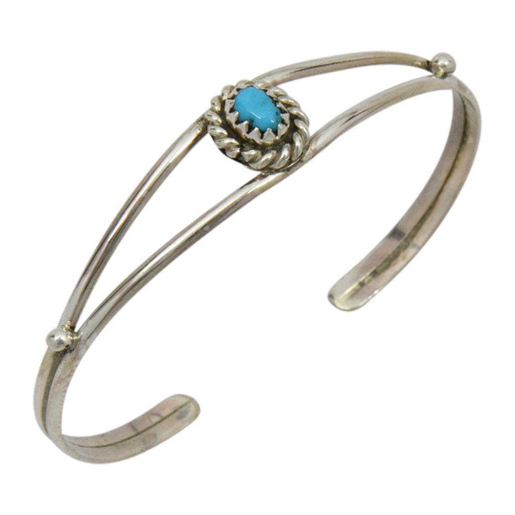 Elton Cadman Sterling Silver Native American Navajo Turquoise Twist Wire Baby Bracelet