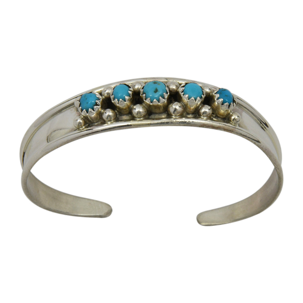 Elton Cadman Sterling Silver Native American Navajo Turquoise 5-Stone Baby Bracelet