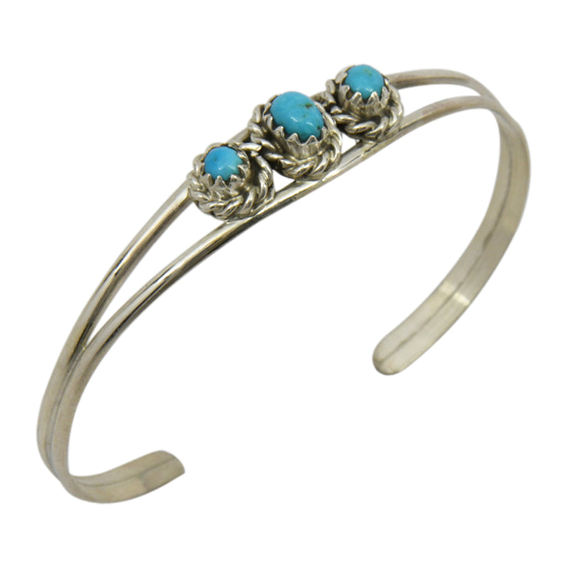 Elton Cadman Sterling Silver Native American Navajo Turquoise 3-Stone Baby Bracelet