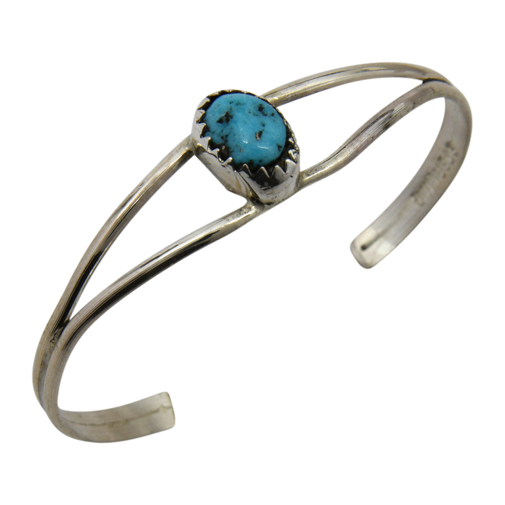 Esther White Sterling Silver Native American Navajo Turquoise Plain Baby Bracelet
