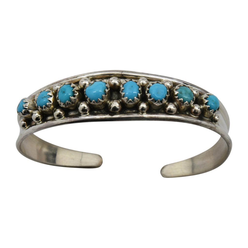 Virginia Cadman Sterling Silver Native American Navajo Turquoise 8-Stone Baby Bracelet