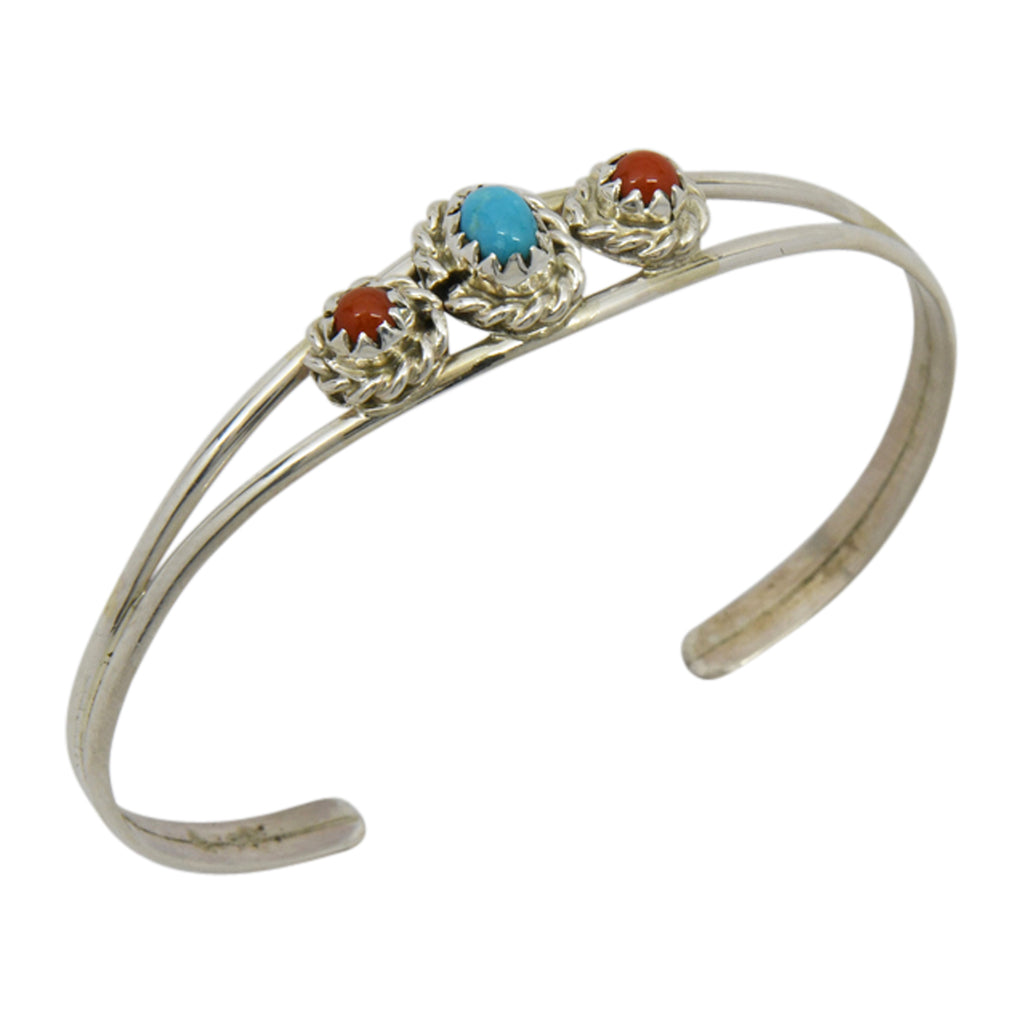 Elton Cadman Sterling Silver Native American Navajo Turquoise & Coral 3-Stone Baby Bracelet