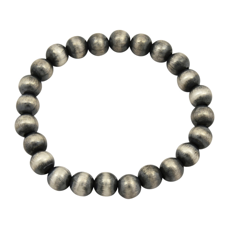 Sterling Silver Navajo Pearl Oxidize Bead Stretch Bracelet. Available from 4mm to 12mm