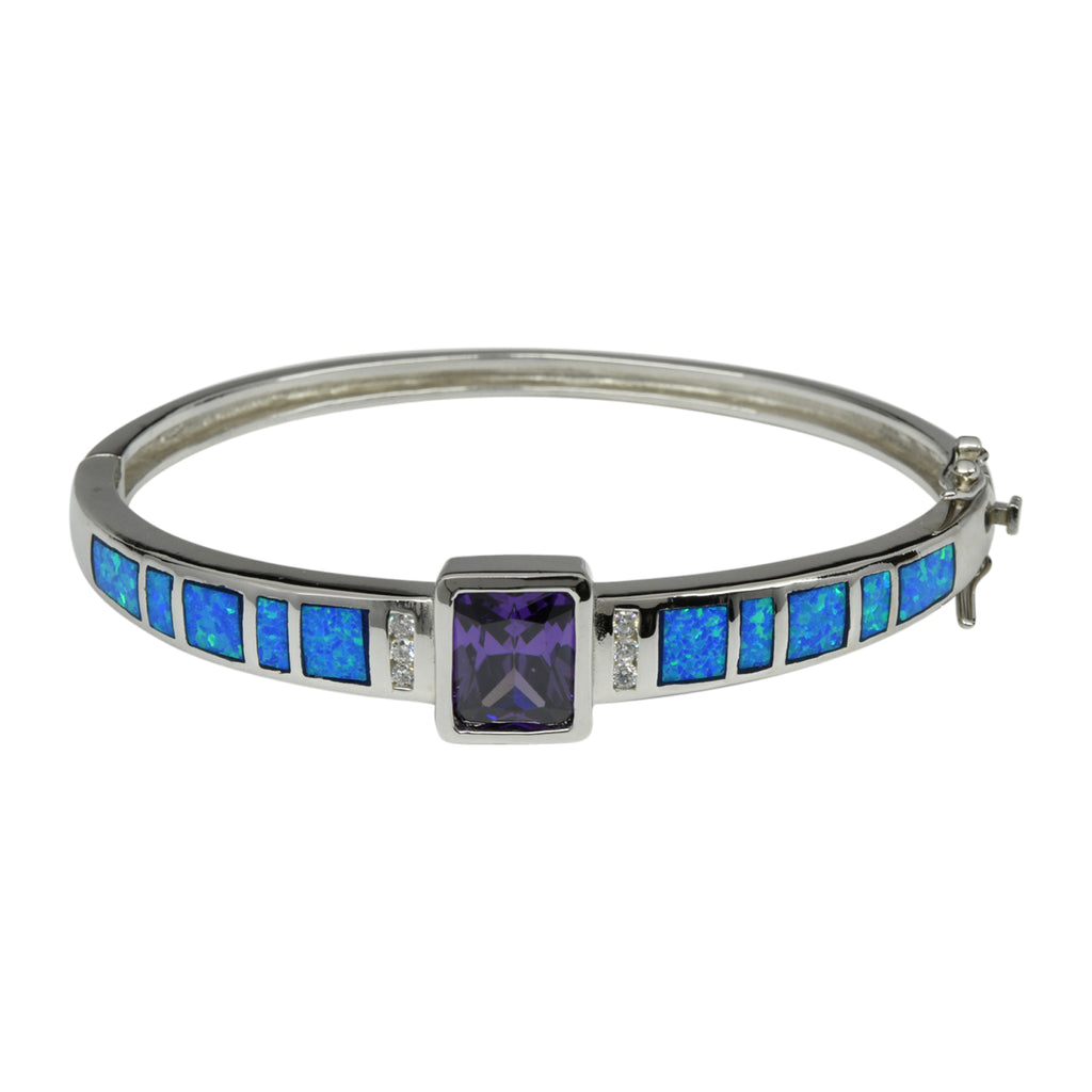 Sterling Silver Blue Lab Opal & Purple CZ Bangle Bracelet