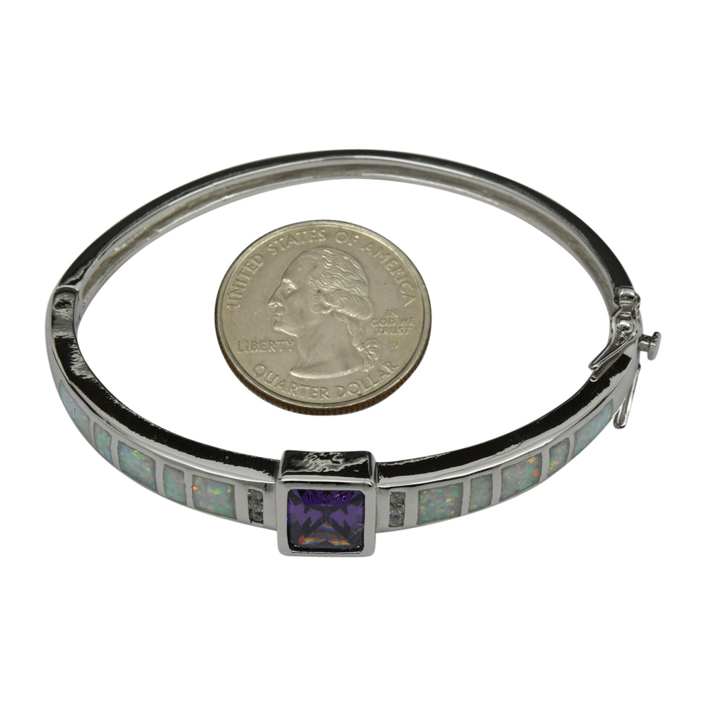 Sterling Silver White Lab Opal & Purple CZ Bangle Bracelet