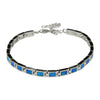 Sterling Silver Blue Lab Opal Small Rectangle Tennis Bracelet