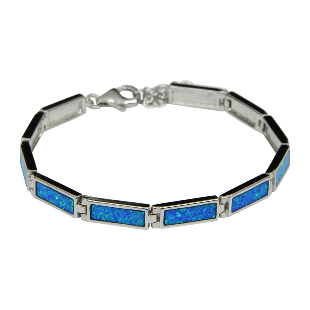 Sterling Silver Blue Lab Opal Rectangle Tennis Bracelet